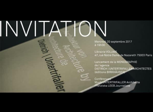 Lancement Monographie: Paris, 20.9.17