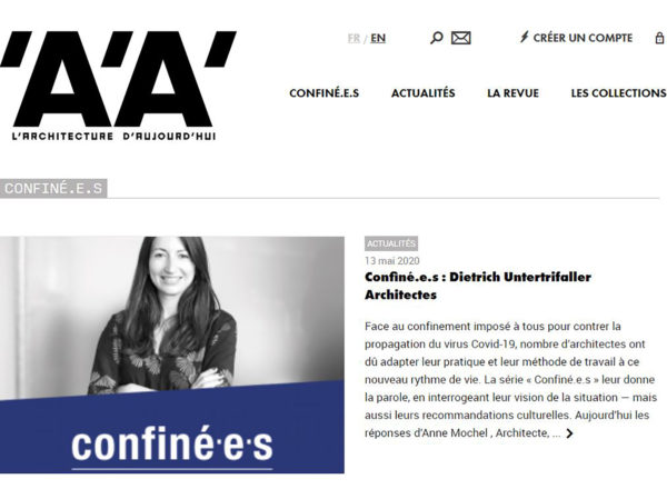 "Press: The ""Confiné.e.s"" interview of Anne Mochel, our Paris Managing Director, for 'A'A'"